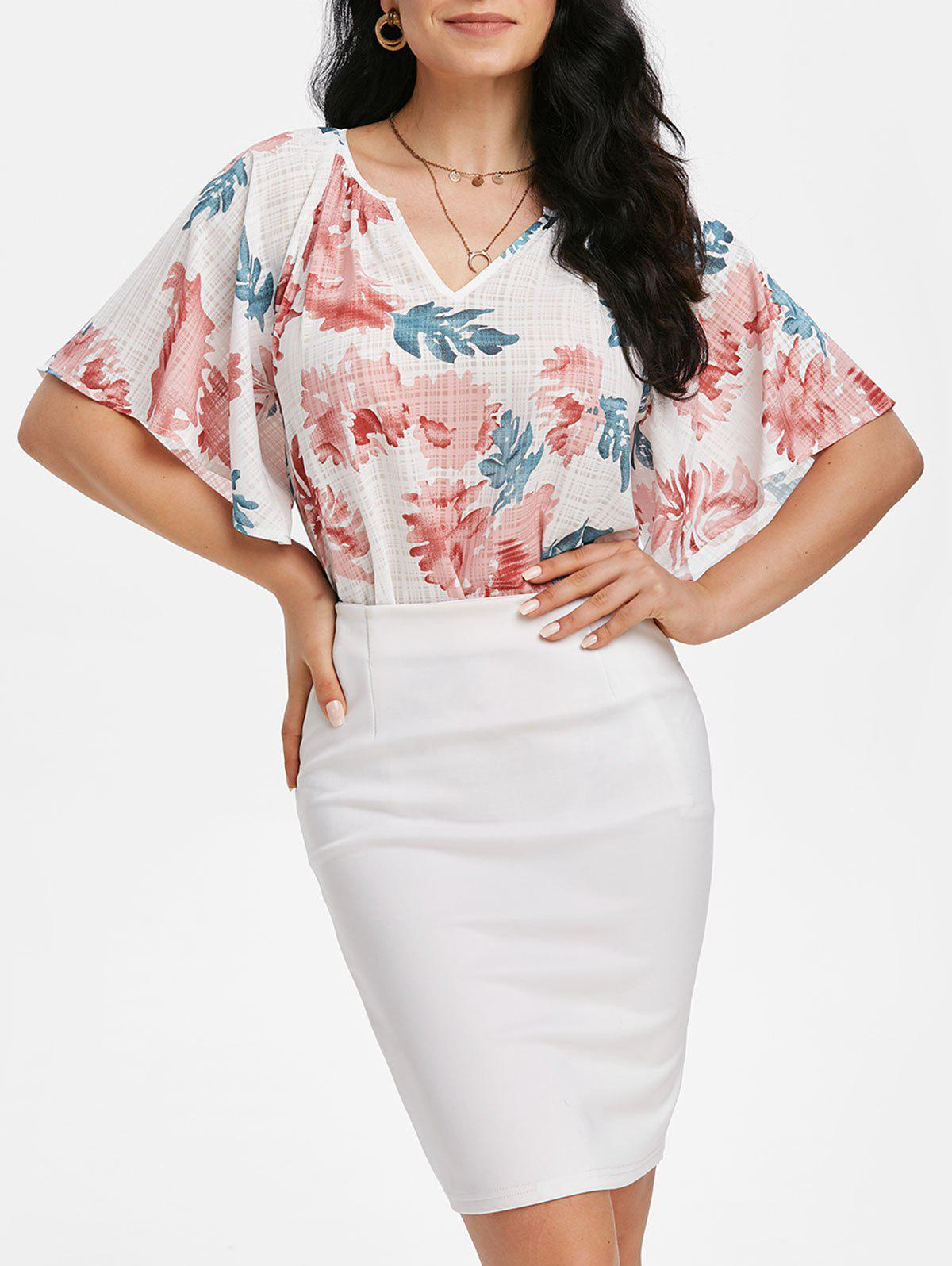 Cheap Floral Print Raglan Sleeve Tunic Blouse