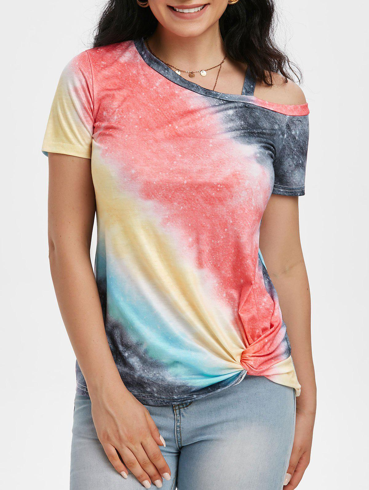 Outfit Tie Dye Skew Neck Twisted Hem T-shirt