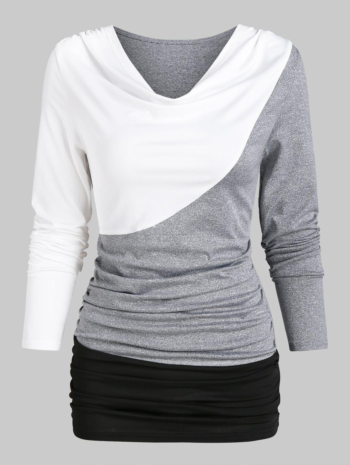 Outfits Contrast Long Sleeve Ruched T-shirt