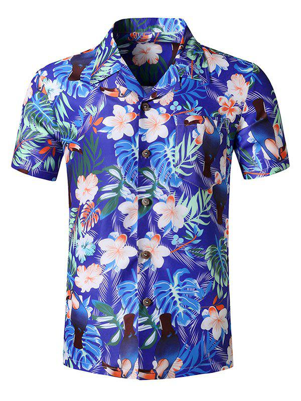 Hot Tropical Flower Leaf Printed Beach Shirt