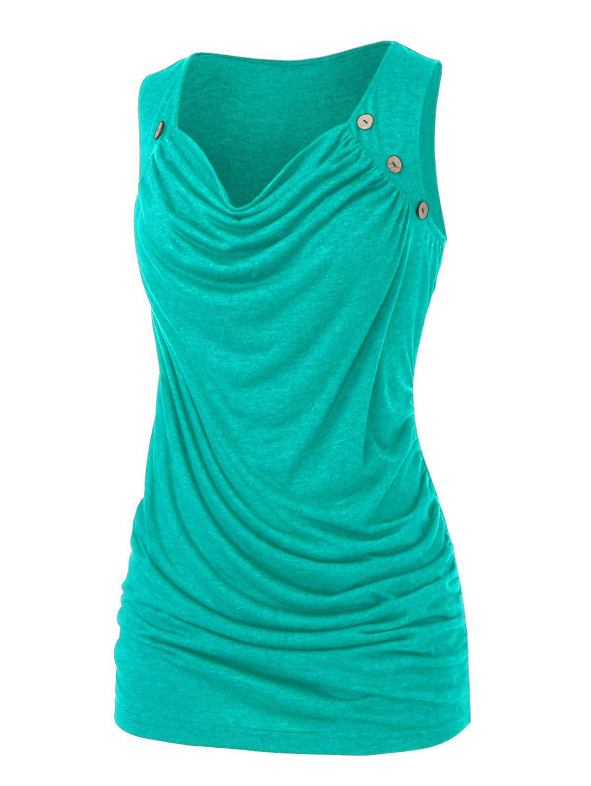 Plus Size Draped Ruched Mock Button Tank Top фото