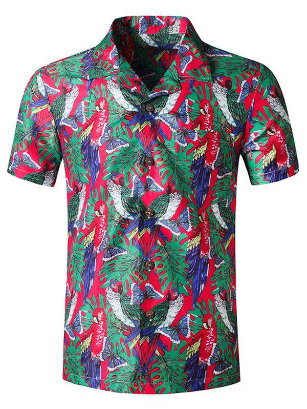 Chic Butterfly Parrot Print Pocket Short Sleeve Beach Shirt