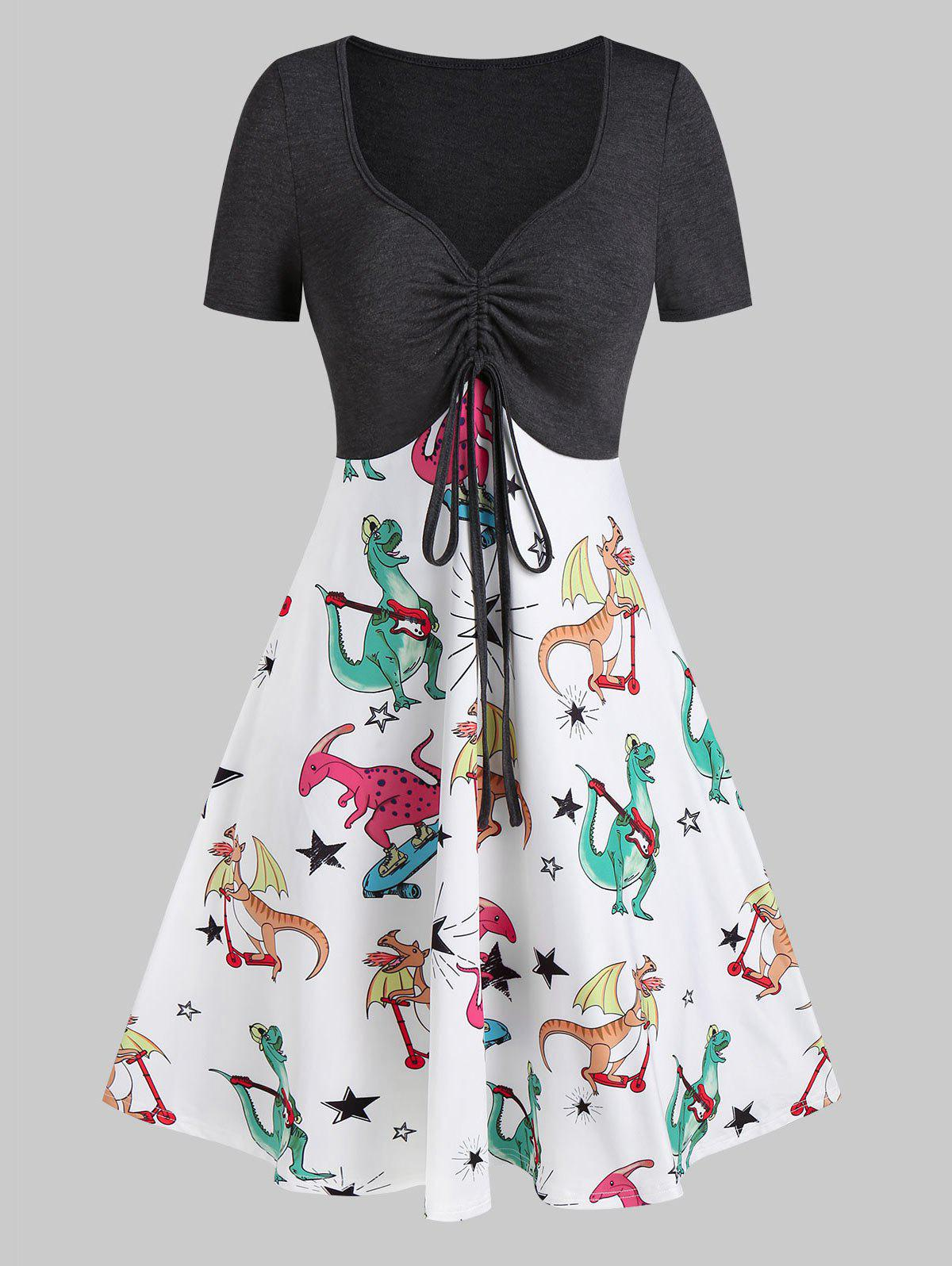 Outfits Plunging Neck Dinosaur Print Drawstring Mini A Line Dress
