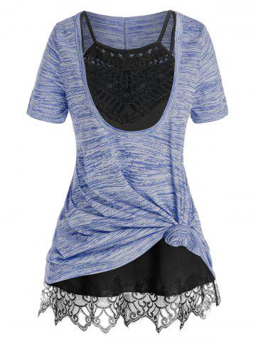 Plus Size Front Knot Marled Tee and Cami Top Set