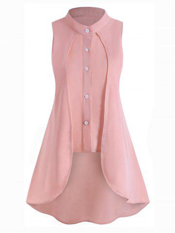 Plus Size Sleeveless High Low Overlay Blouse - PINK - 4X