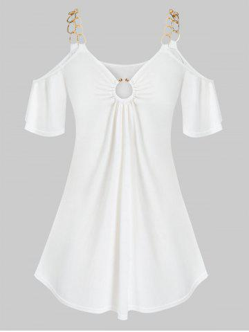 Plus Size O Ring Open Shoulder Chains T Shirt - WHITE - 5X