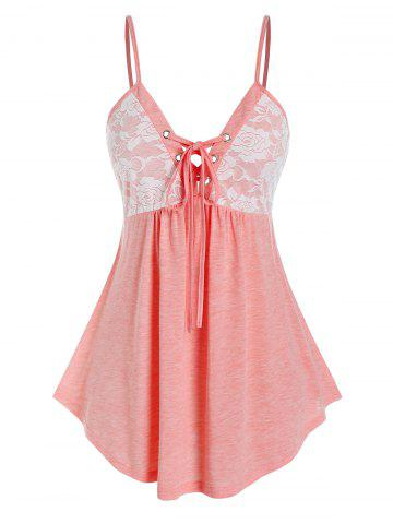 Plus Size High Waist Lace Up Tank Top - PIG PINK - 2X