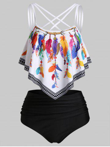 Strappy Feather Print Padded Tankini Set