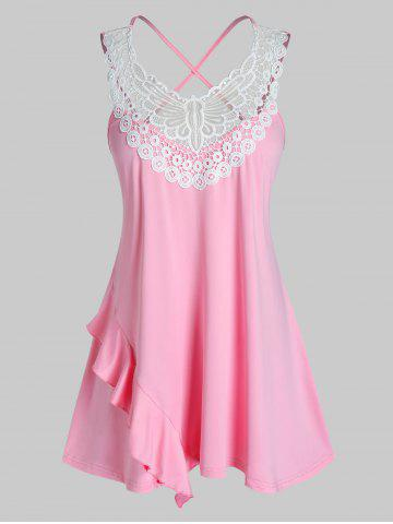 Plus Size Embroidery Criss Cross Tank Top - PIG PINK - 1X
