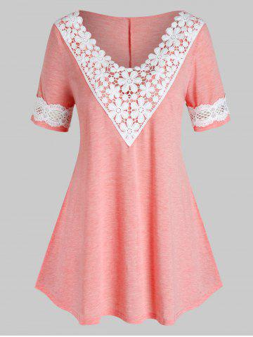 Plus Size Contrast Lace Curved T Shirt - ROSE - 1X