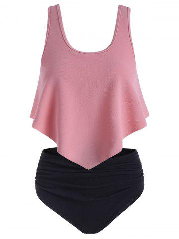 Textured Flounce Ruched Tankini Swimsuit - LIGHT PINK - 2XL