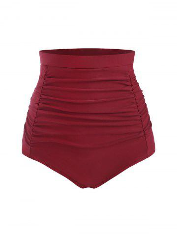 Ruched Front High Rise Bikini Bottom - DEEP RED - 2XL