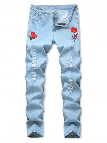 Floral Embroidery Ripped Design Jeans - LIGHT BLUE - 40
