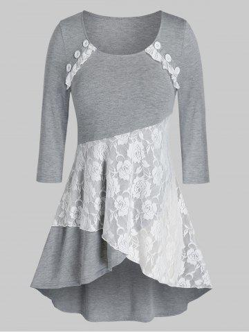 Plus Size Lace Button High Low Layered Top - GRAY - 4X