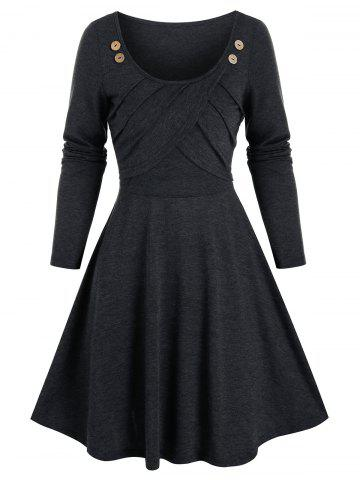 Button Pleated Fit And Flare Dress