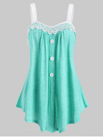 Lace Panel Button Embellished Casual Tank Top - LIGHT GREEN - 3XL