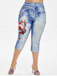 Plus Size American Flag Butterfly 3D Print Capri Jeggings -