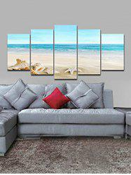 Beach Starfish Conch Pattern Unframed Split Paintings -