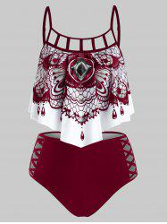 Abstract Butterfly Print Padded Gothic Tankini Set -