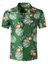 Wildflower Leaf Print Pocket Hawaii Short Sleeve Shirt -