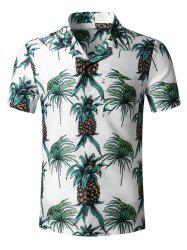 Tropical Pineapple Print Pocket Hawaii Button Up Shirt -