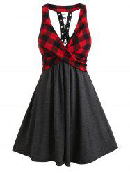 Plaid Patchwork Front Cross A Line Dress -