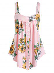 Plus Size Flower Print Backless Buttoned Tunic Tank Top -