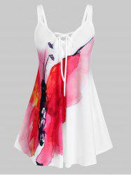 Plus Size Lace Up Butterfly Print Tank Top -