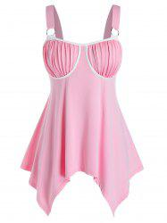 Plus Size Ruched Cupped Handkerchief Backless Tank Top -
