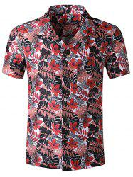 Tropical Leaf Print Pocket Beach Shirt -