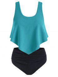 Textured Flounce Ruched Tankini Swimsuit -