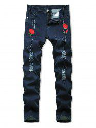 Floral Embroidery Ripped Design Jeans -