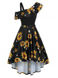 Sunflower Printed Skew Collar High Low Dress -