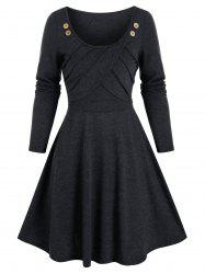 Button Pleated Fit And Flare Dress -