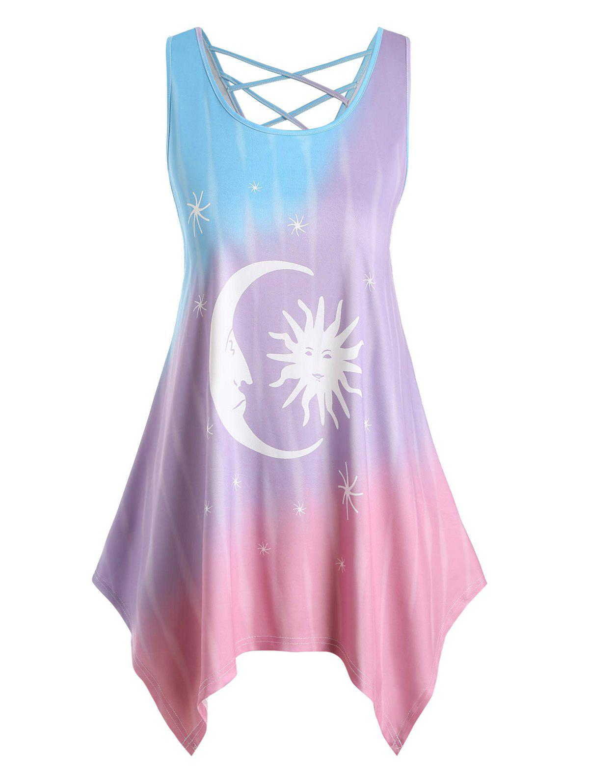 Unique Plus Size Handkerchief Sun and Moon Print Tank Top