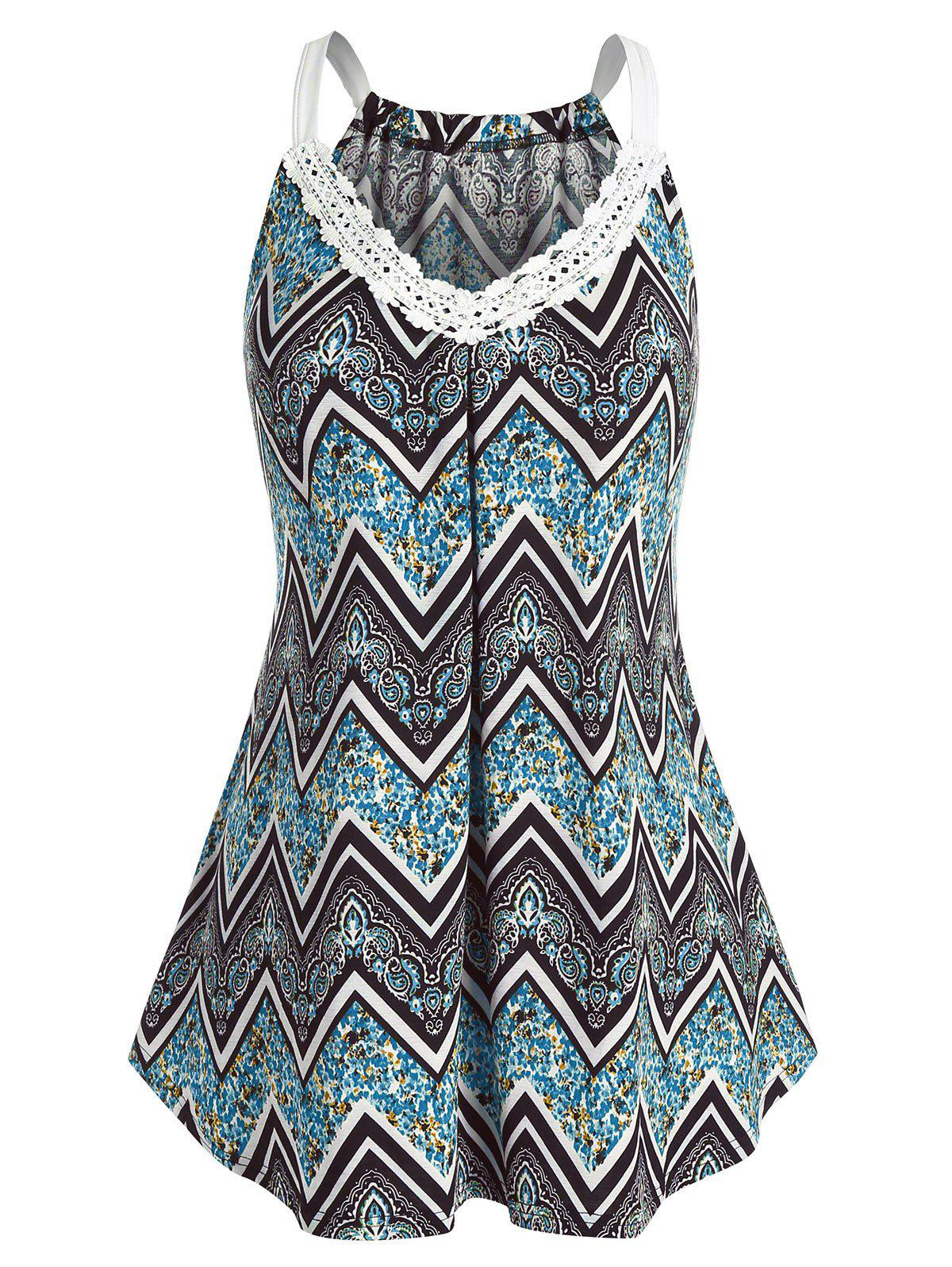 Outfits Plus Size Lace Zig Zag Print Tank Top