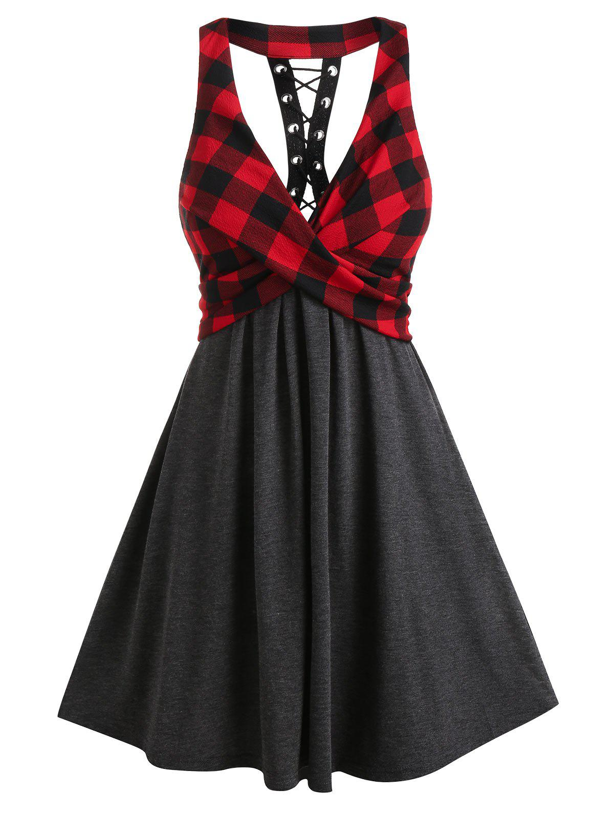 Shops Plaid Patchwork Front Cross A Line Dress