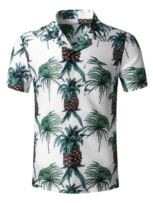 Fancy Tropical Pineapple Print Pocket Hawaii Button Up Shirt
