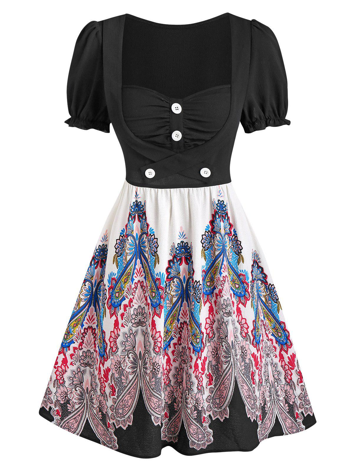 Outfit Paisley Printed Puff Sleeve A Line Dress