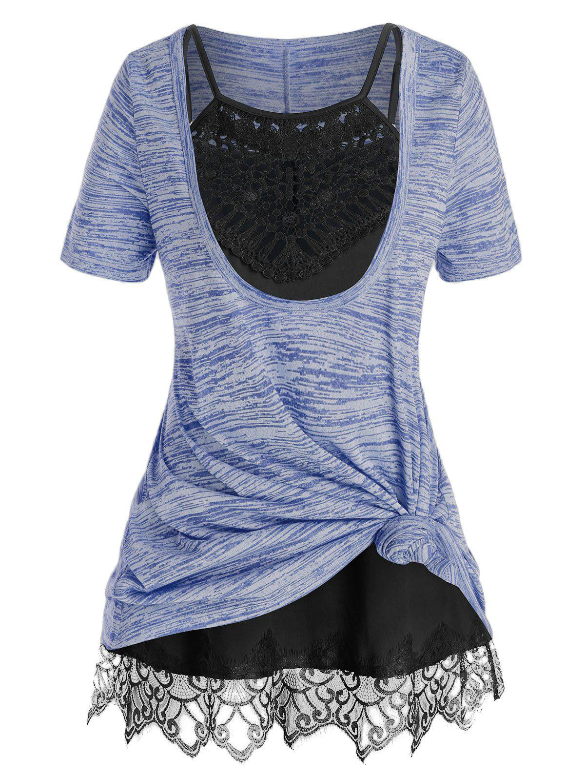 Plus Size Front Knot Marled Tee and Cami Top Set фото