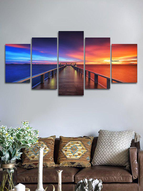 Trendy Ocean Sunset Bridge Pattern Unframed Split Paintings
