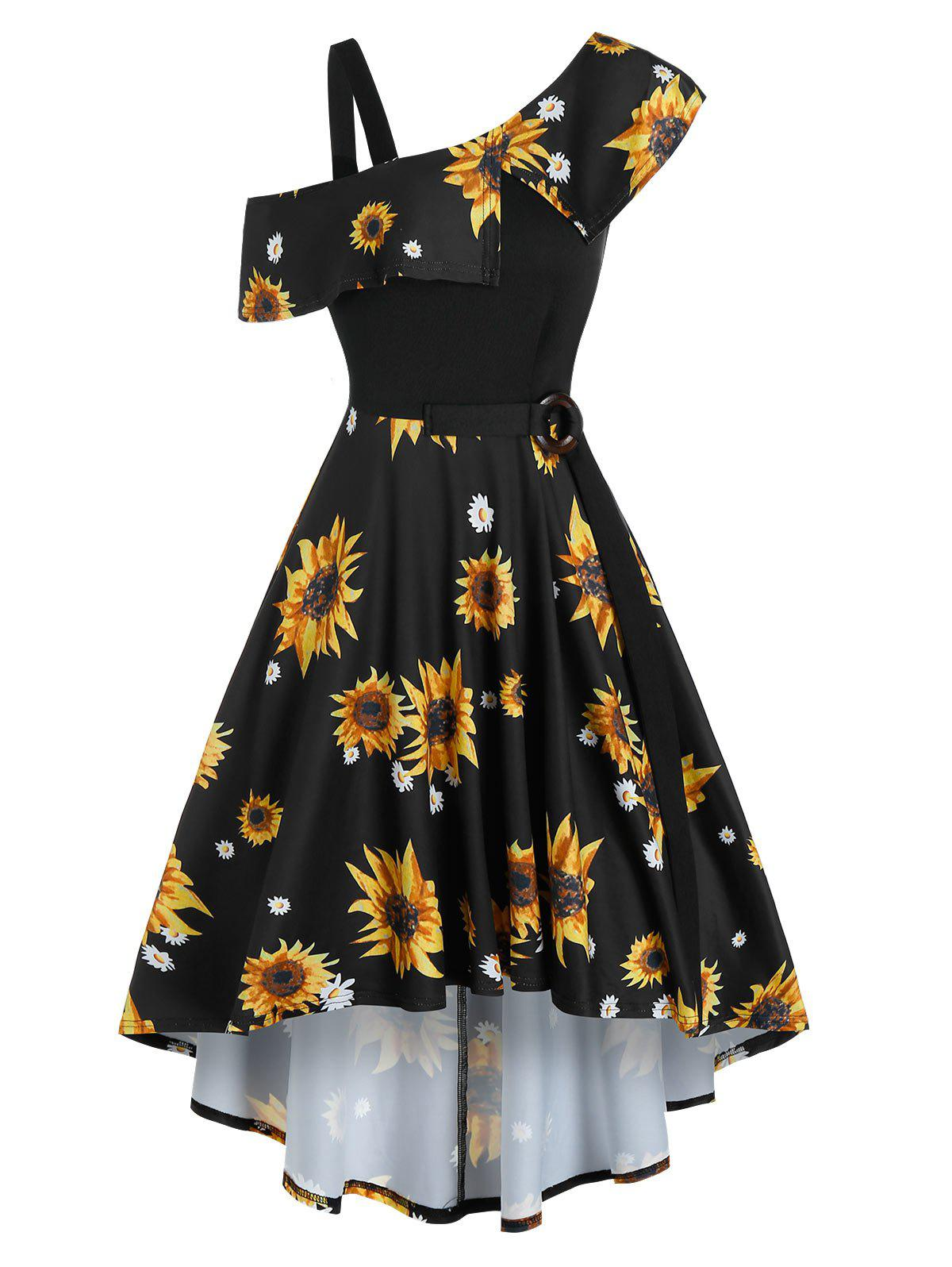 Latest Sunflower Printed Skew Collar High Low Dress