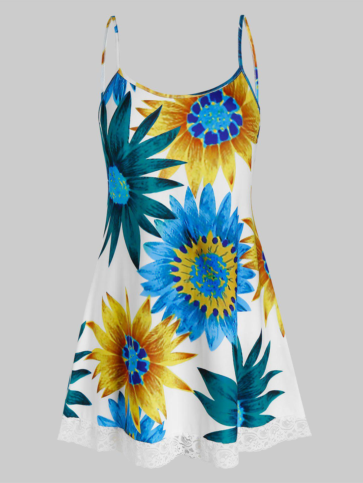 Trendy Plus Size Sunflower Print Swing Cami Top