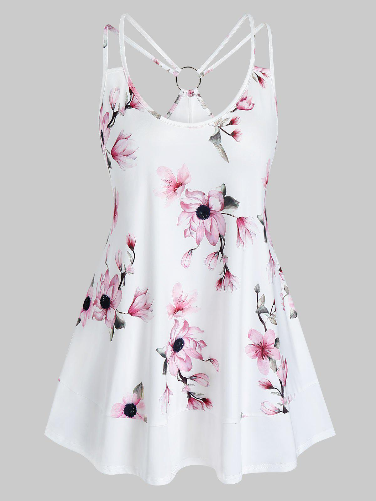 New Plus Size O Ring Floral Print Strappy Tank Top