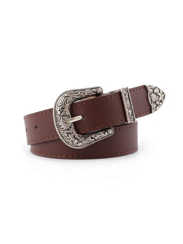 Hot Flower Curved Buckle PU Belt