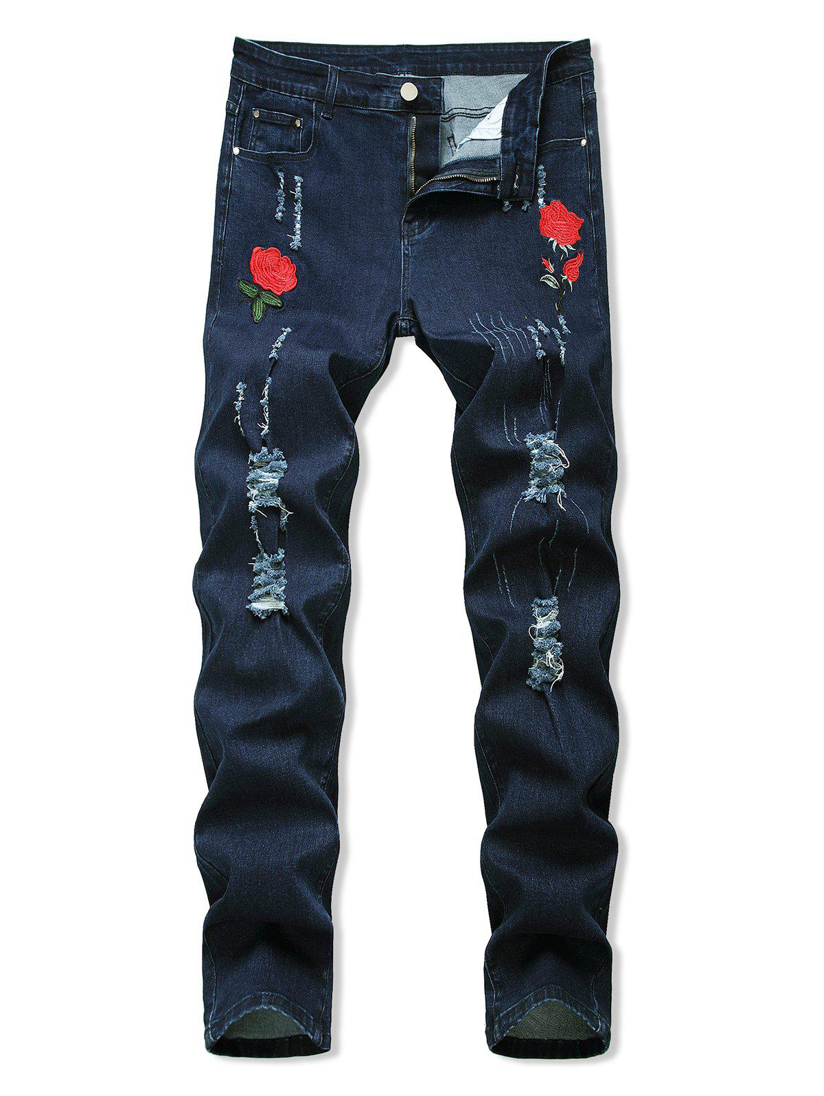 Online Floral Embroidery Ripped Design Jeans