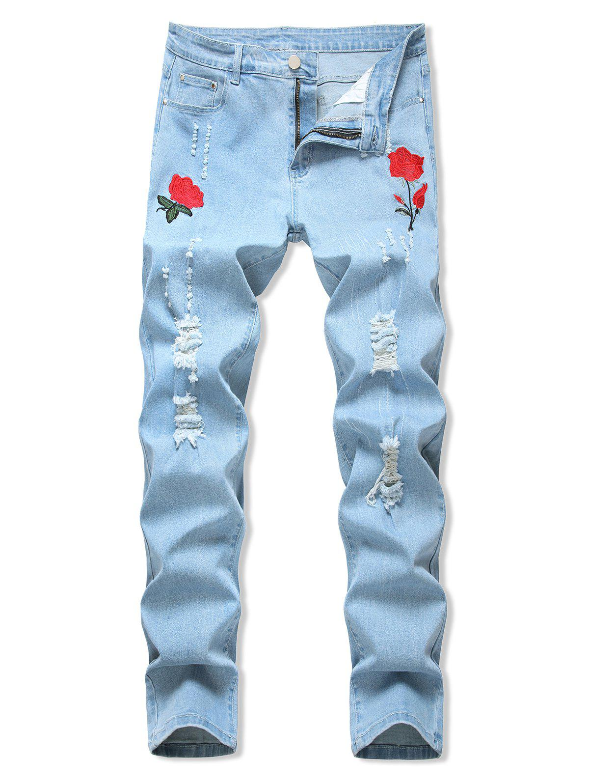 Outfit Floral Embroidery Ripped Design Jeans