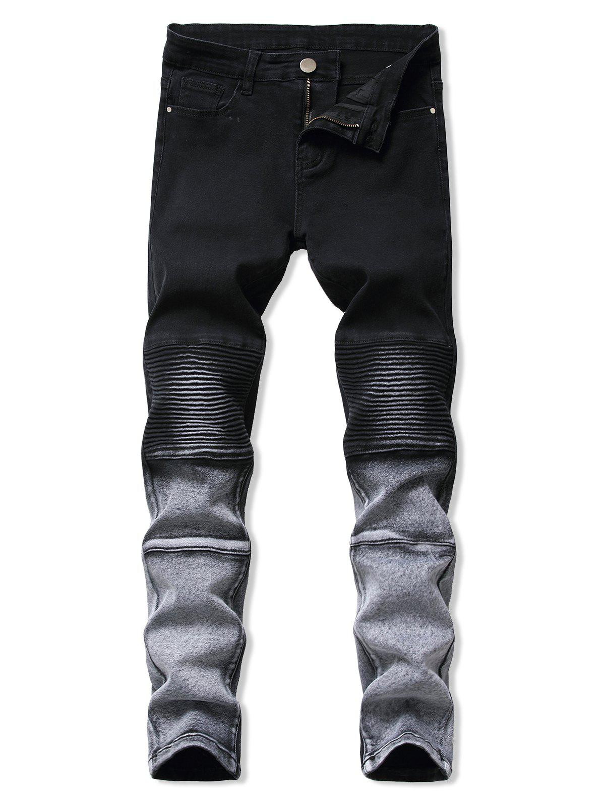 Contrast Tapered Biker Jeans фото