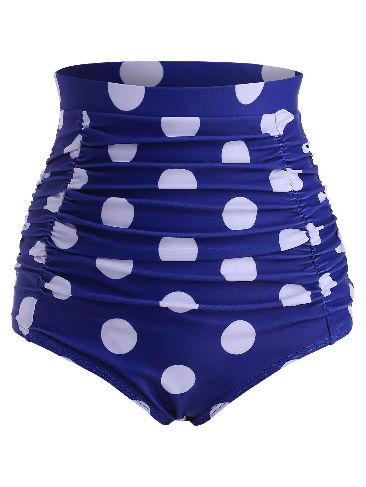 Hot Polka Dot Ruched High Rise Bikini Bottom