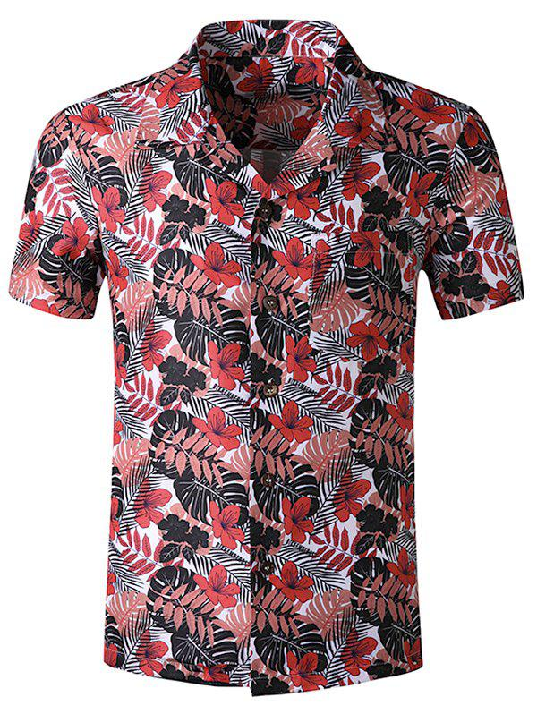 Discount Tropical Leaf Print Pocket Beach Shirt